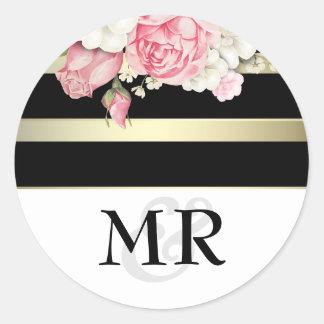 Floral Vintage Black White and Gold Wedding Round Sticker
