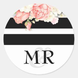 Floral Vintage Black White Wedding Round Sticker