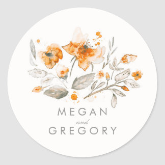 Floral Vintage Fall Watercolor Wedding Round Sticker