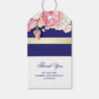 Floral Vintage Gold Navy and White Stripe Wedding