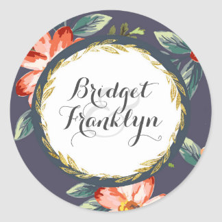 floral vintage navy and gold wedding classic round sticker