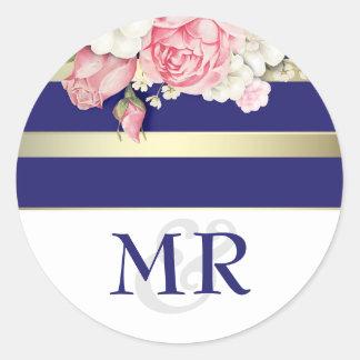 Floral Vintage Navy White and Gold Wedding Round Sticker