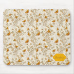 Floral Vintage Pattern with Butterflies Mouse Pad