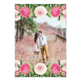 Floral vintage rose photo save the date card