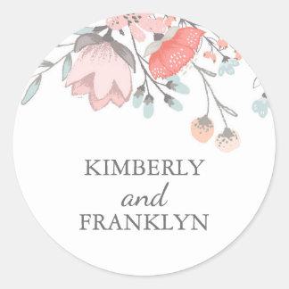 Floral Vintage Round Sticker