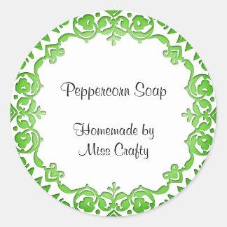 Floral Vintage Soap or Canning Labels Green