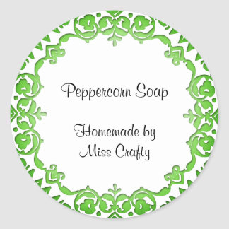 Floral Vintage Soap or Canning Labels Green Round Sticker