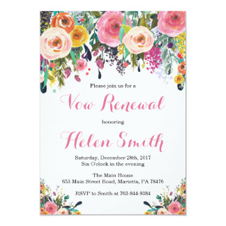 Floral Vow Renewal Invitation Card