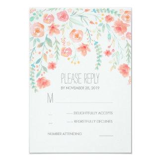 Floral Watercolor Elegant Wedding RSVP Cards 9 Cm X 13 Cm Invitation Card