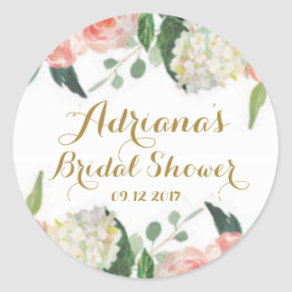 Floral Watercolor peonies Classic Round Sticker