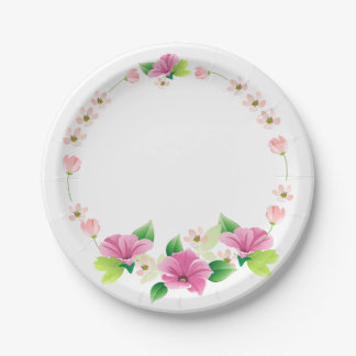 Floral Watercolor Pink & Purple Flower Wedding 7 Inch Paper Plate