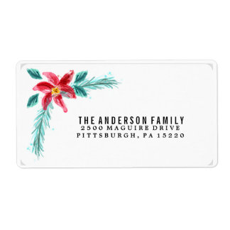 Floral Watercolor Poinsettia Return Address Label