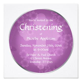 Floral Watermark Amethyst Christening Invitations