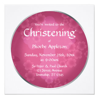 Floral Watermark Fuchsia Christening Invitations