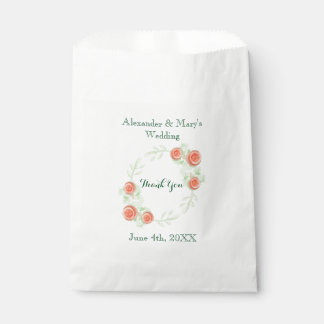 Floral Wedding Favor Bags - Wreath Design Favour Bags