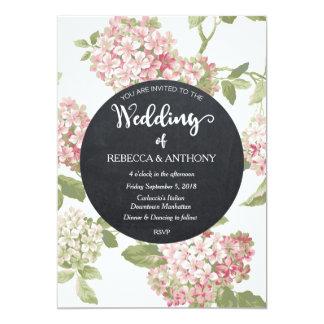 Floral wedding invitation ivory chalkboard