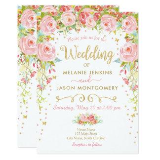 Floral Wedding Invitation, Spring Summer Garden Card