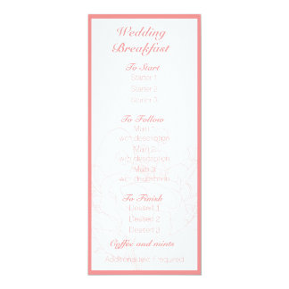 Floral wedding menu (Coral) 10 Cm X 24 Cm Invitation Card