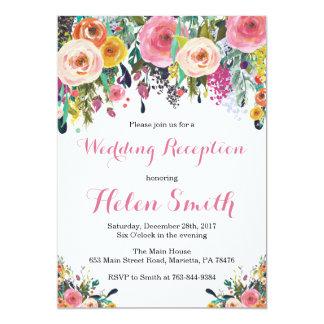 Floral Wedding Reception Invitation Card