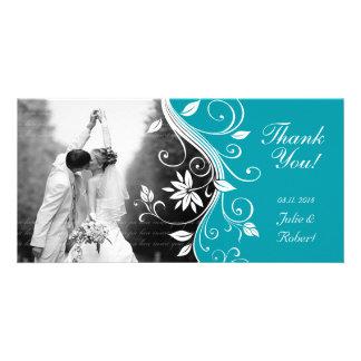 Floral Wedding Thank You Card Custom Blue