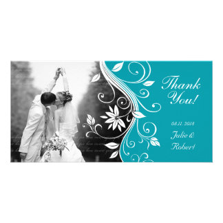 Floral Wedding Thank You Card Custom Blue Personalized Photo Card