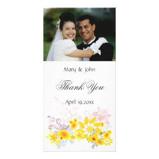 Floral Wedding Thank You Photo Card Template