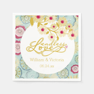 Floral Whimsy Endless Love Wedding Paper Napkins