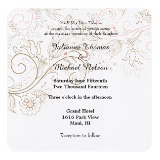 Floral Whimsy Wedding Card