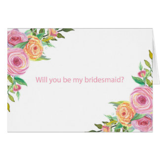 "Floral ""will you be my bridesmaid?"" card"