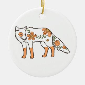 Floral Wolf Round Ceramic Decoration