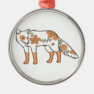 Floral Wolf Silver-Colored Round Decoration