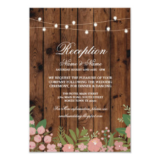 Floral Wood Rustic Wedding Reception Cards Wood