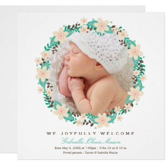 Floral Wreath   Birth Announcement