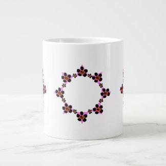 Floral wreath black, pink, orange jumbo mug