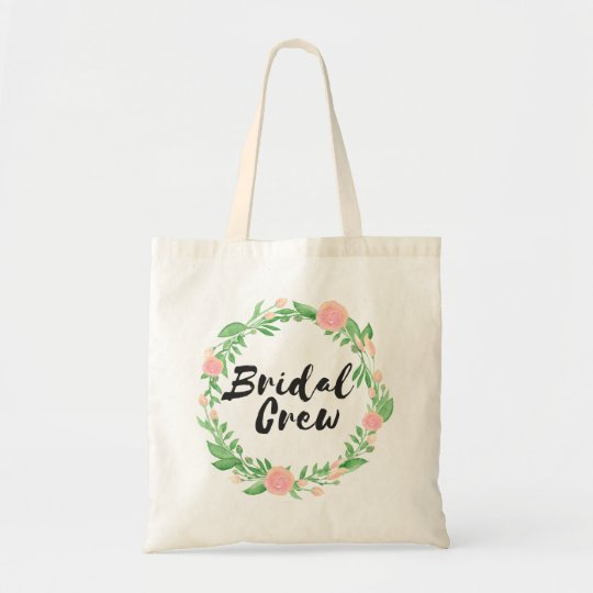 Floral Wreath Bridal Crew Tote Bag