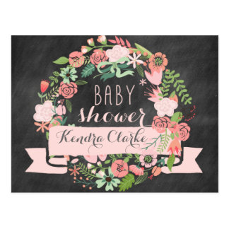 FLORAL WREATH CHALKBOARD | BABY SHOWER INVITATION POSTCARD