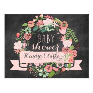 FLORAL WREATH CHALKBOARD | BABY SHOWER INVITATION POSTCARD