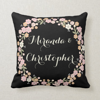 Floral Wreath Elegant Newlywed Wedding Pillow
