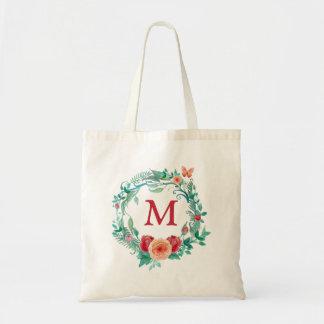 Floral Wreath Monogram Tote Bag