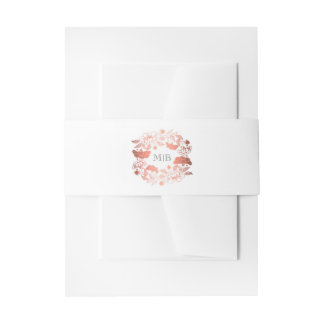 Floral Wreath Rose Gold and White Elegant Wedding Invitation Belly Band