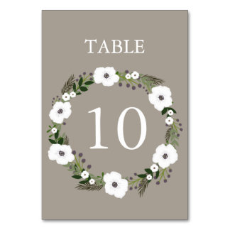 Floral Wreath Table Number Card - taupe Table Card