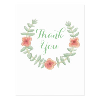 Floral Wreath Thank You Postcard