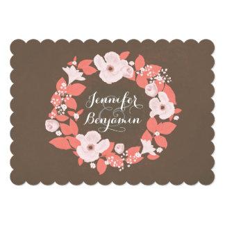 floral wreath vintage wedding invite