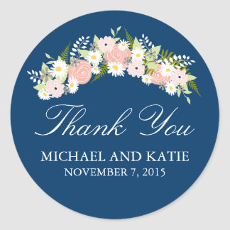 Floral Wreath Wedding Classic Round Sticker