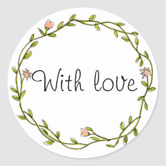 Floral wreath 'with love' favour sticker