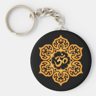 Floral Yellow and Black Aum Design Key Ring