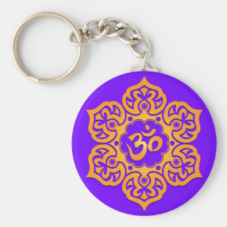Floral Yellow and Blue Aum Design Key Ring