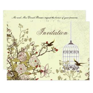floral yellow bird cage, love birds invites