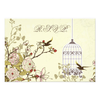 floral yellow bird cage, love birds RSVP 3.5 x 5 Personalized Invite