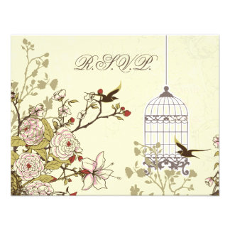 floral yellow bird cage, love birds RSVP Personalized Announcement
